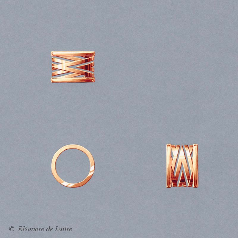 Eléonore de Laitre - Collection Couture - Bague Bobine - Or rose - gouache