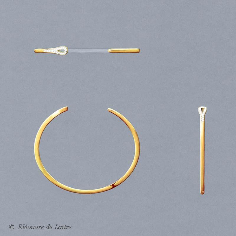Bracelet Aiguille or jaune - gouache