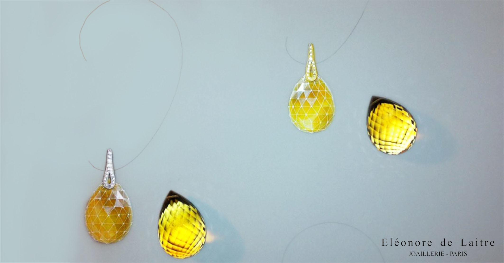 Eléonore de Laitre - Boucles d'oreilles Aiguille - Quartz-fumée, diamants, or gris ou or jaune