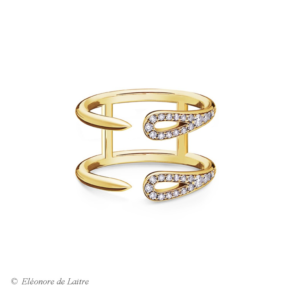Eléonore de Laitre - Bague Double Aiguille - diamants, or jaune - Collection Couture