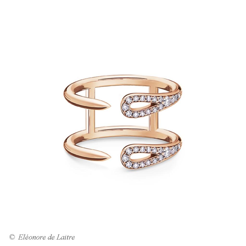 Eléonore de Laitre - Bague Double Aiguille - diamants, or rose - Collection Couture