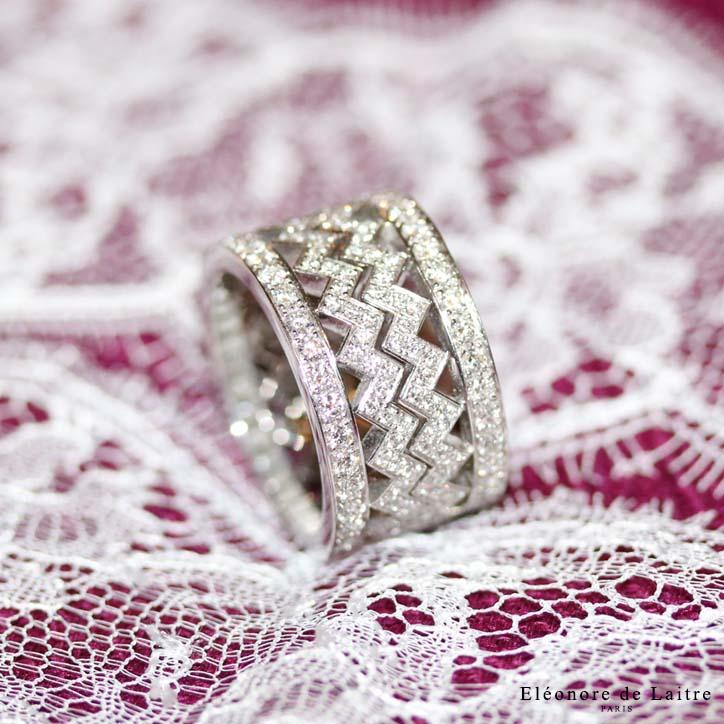Eléonore de Laitre - Bague Dentelle Z Diamants - diamants, or gris - Collection Couture
