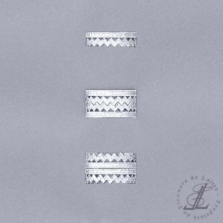 Eléonore de Laitre - Bague Dentelle Z Diamants - diamants, or gris - gouache - Collection Couture
