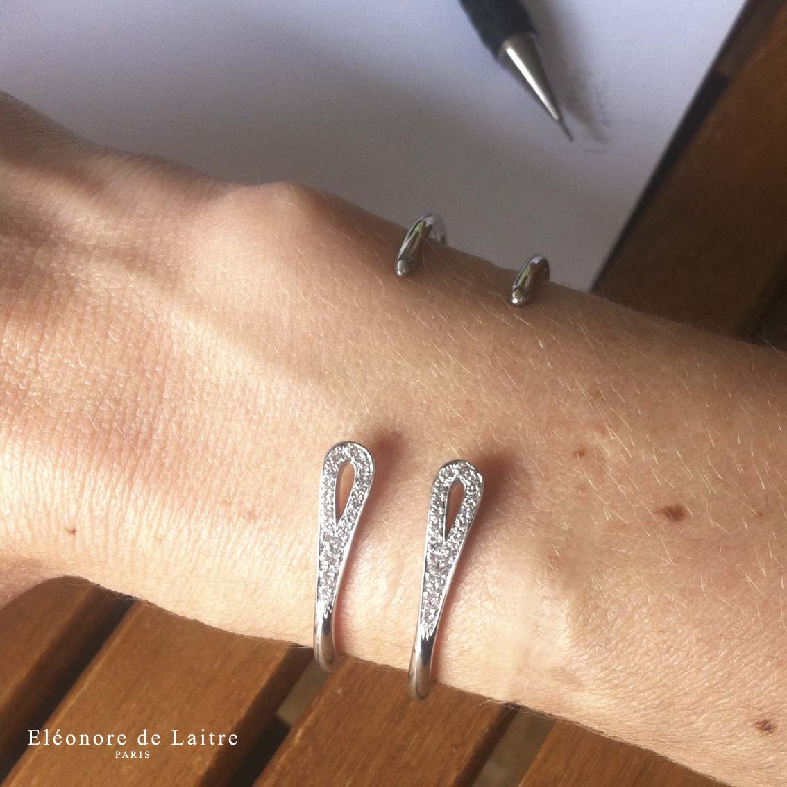 Eléonore de Laitre - Collection Couture - Bracelet Double Aiguille - Diamants, or blanc