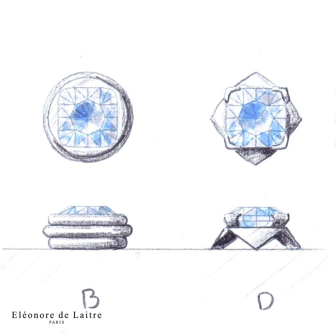 Eléonore de Laitre - Sur-mesure - Création - Boutons de manchette - Aigue-marines, or blanc
