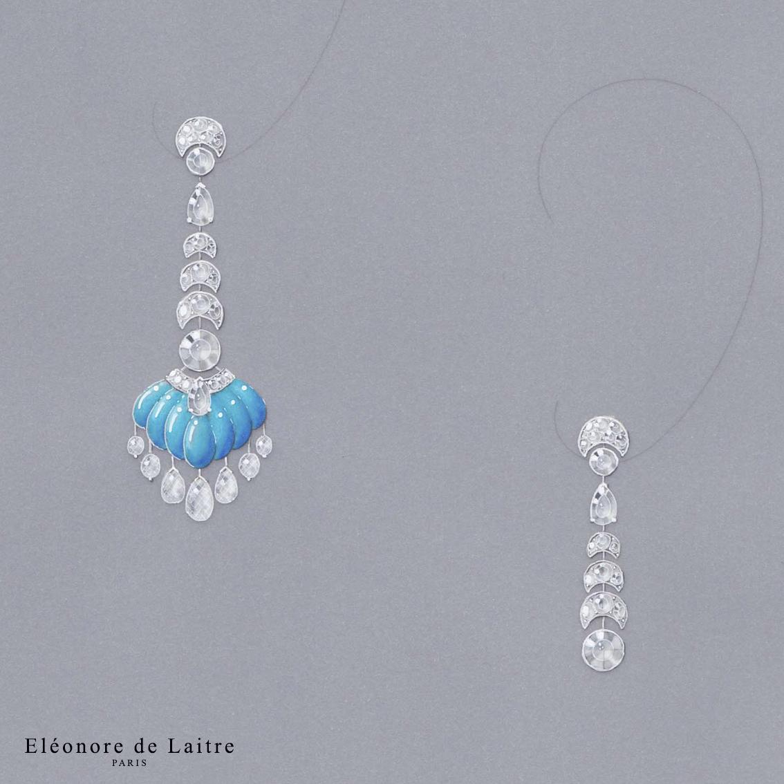Eléonore de Laitre - Création gouachée - MO Clair de Lune - Diamants, turquoise, or blanc.