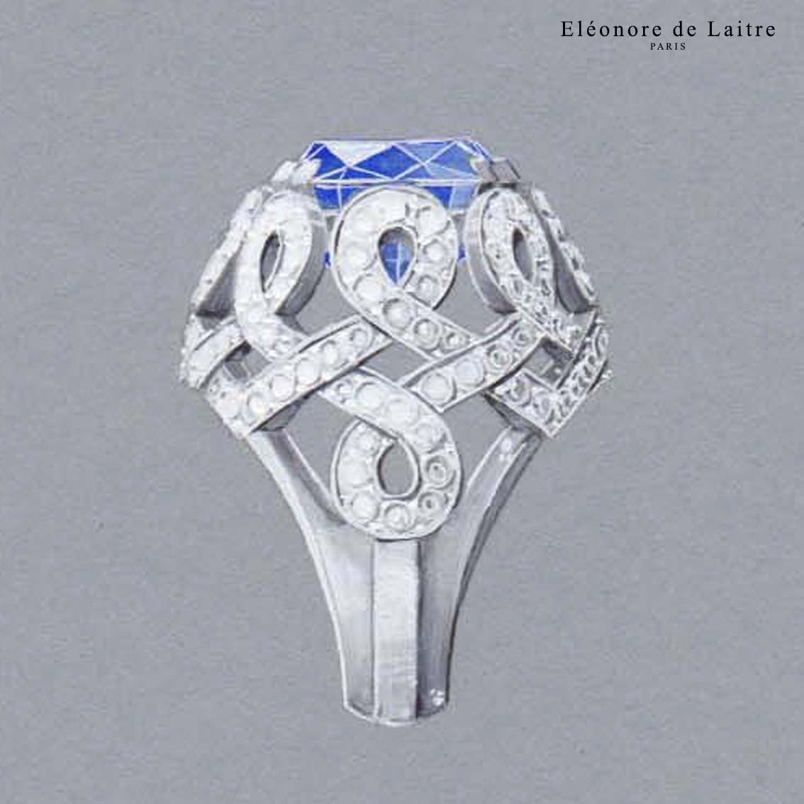 "Eléonore de Laitre - Bague ""Infini"" - gouache - Saphir, diamants, or blanc."