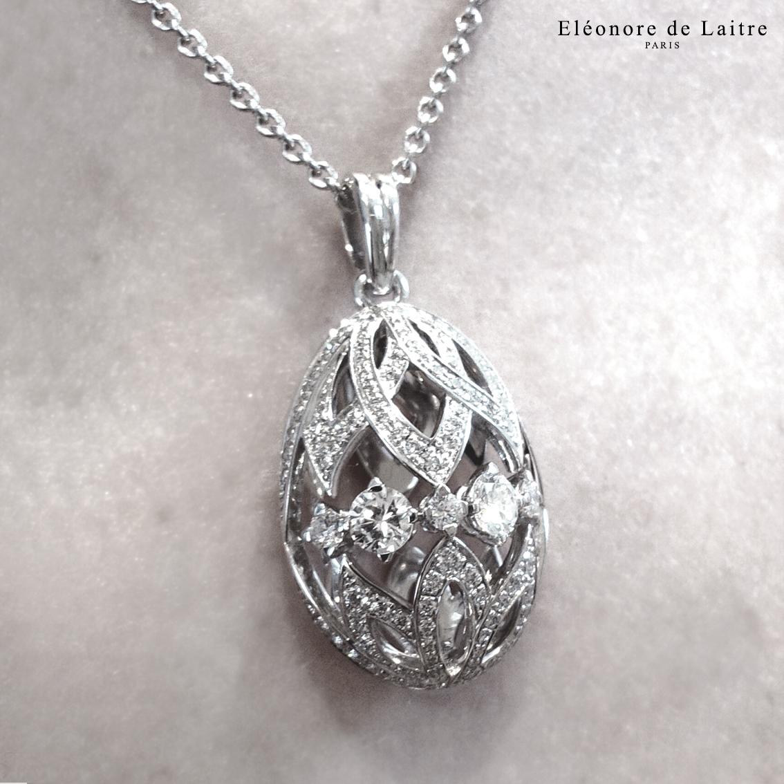 Eléonore de Laitre - commande particulière - pendentif oeuf - diamants, or blanc.