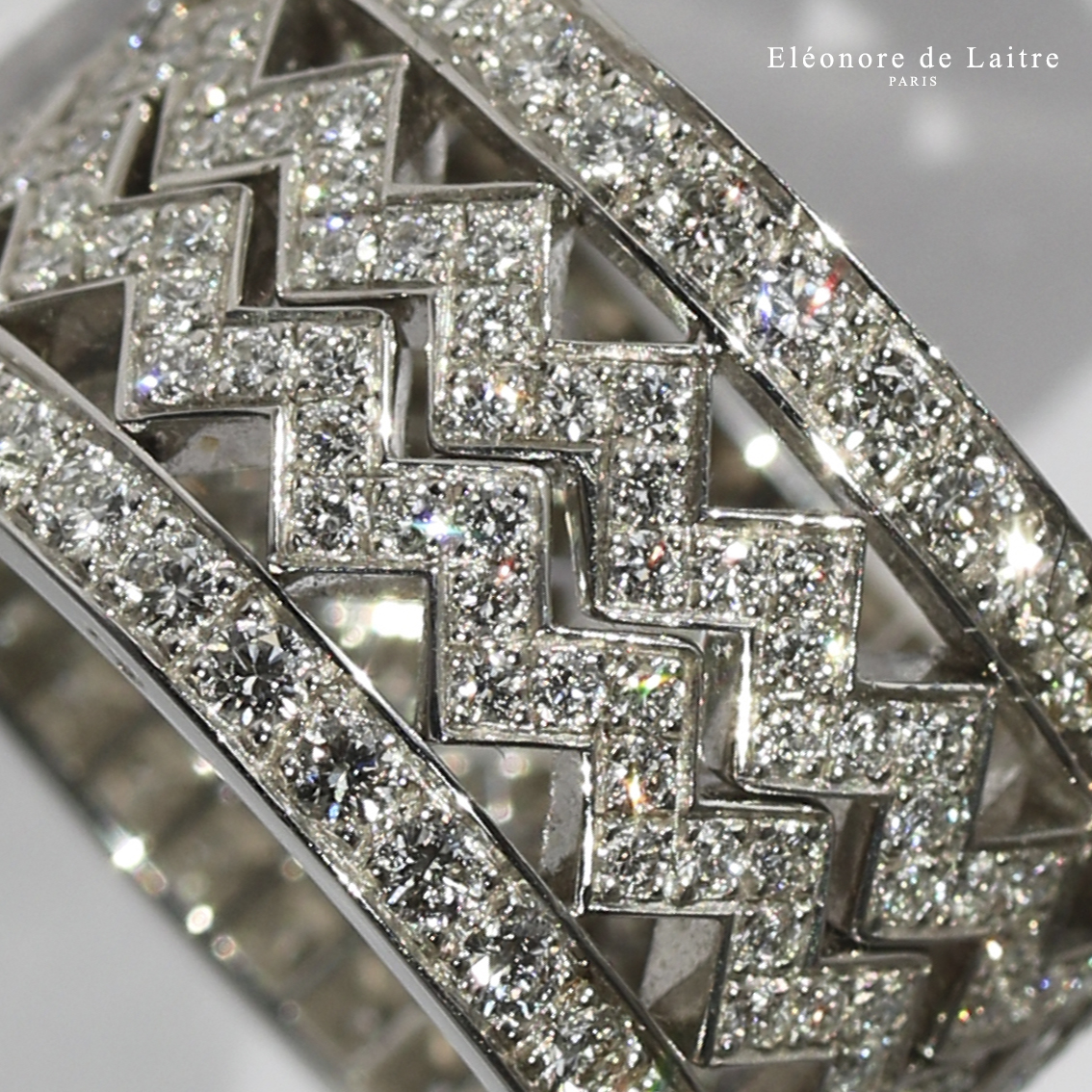 Collection Couture - Bagues Dentelles - diamants, or gris.