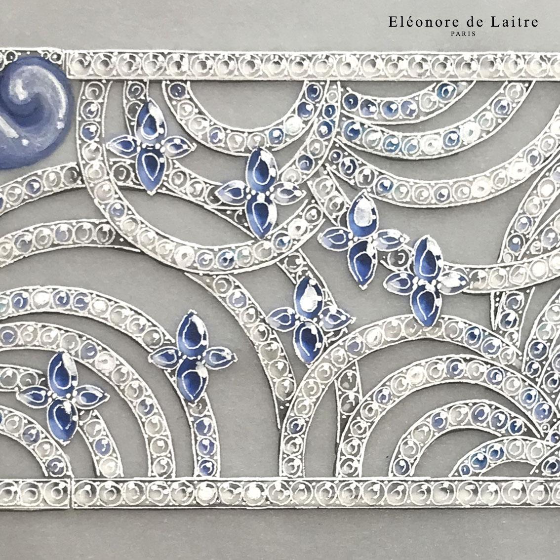 Eléonore de Laitre - Haute joaillerie - Bracelet Oies Sauvages - gouache.