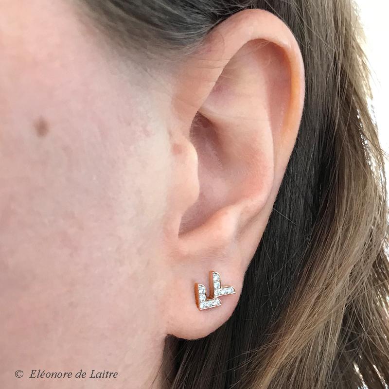 Collection Couture - Puce d'oreille Dentelle VV - OR - porté